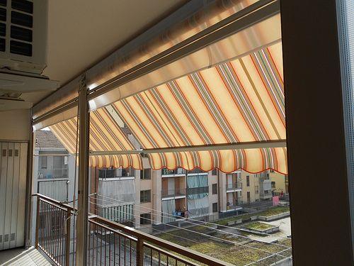 Tenda veranda estate inverno  Chiusura completa di balcone con tenda veranda doppio rullo estiva e invernale e pannelli fissi in VINITEX vista interna  www.tendedasoleachieri.it  M.F. Tende e tendaggi Chieri  Cell.:3466893107   Email:tendedasoleachieri@gmail.com