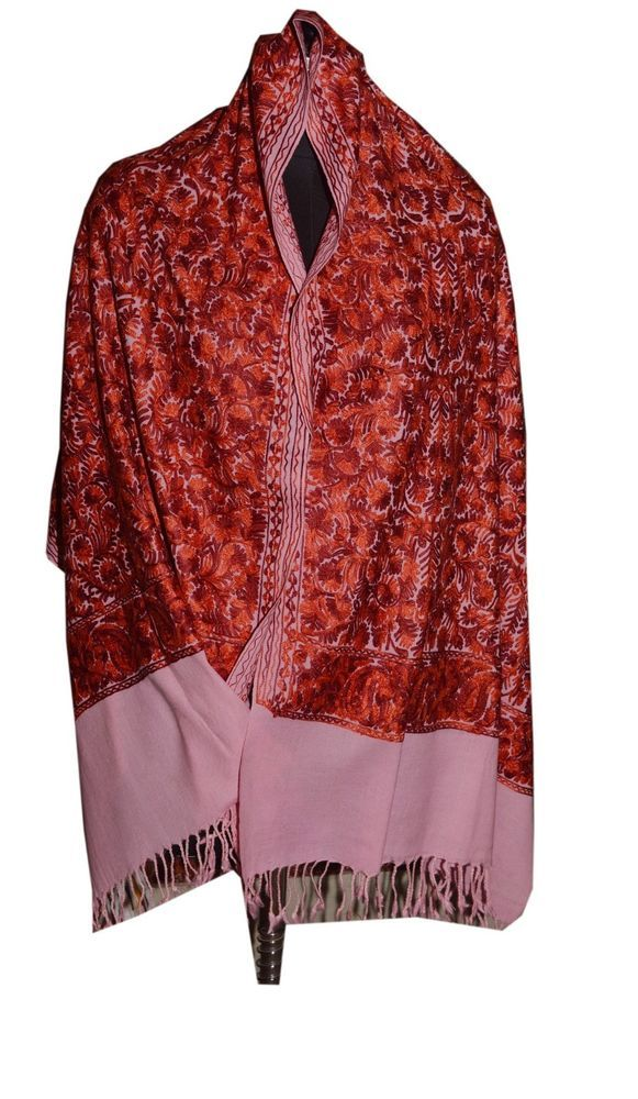 Crewel Embroidered Shawl. color Wool  Stole with Kashmir Embroidery. India 652 #ShawlWrap