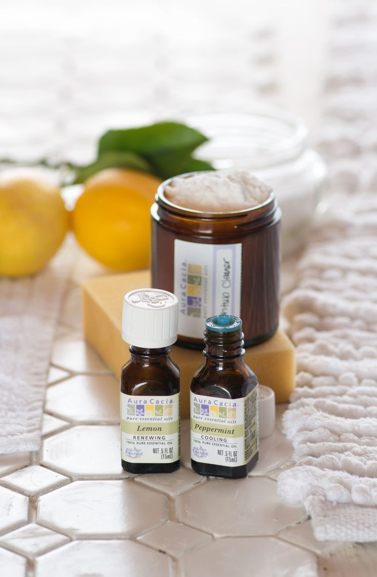 A simple homemade tub and tile scrub recipe featuring peppermint and lemon essential oils.