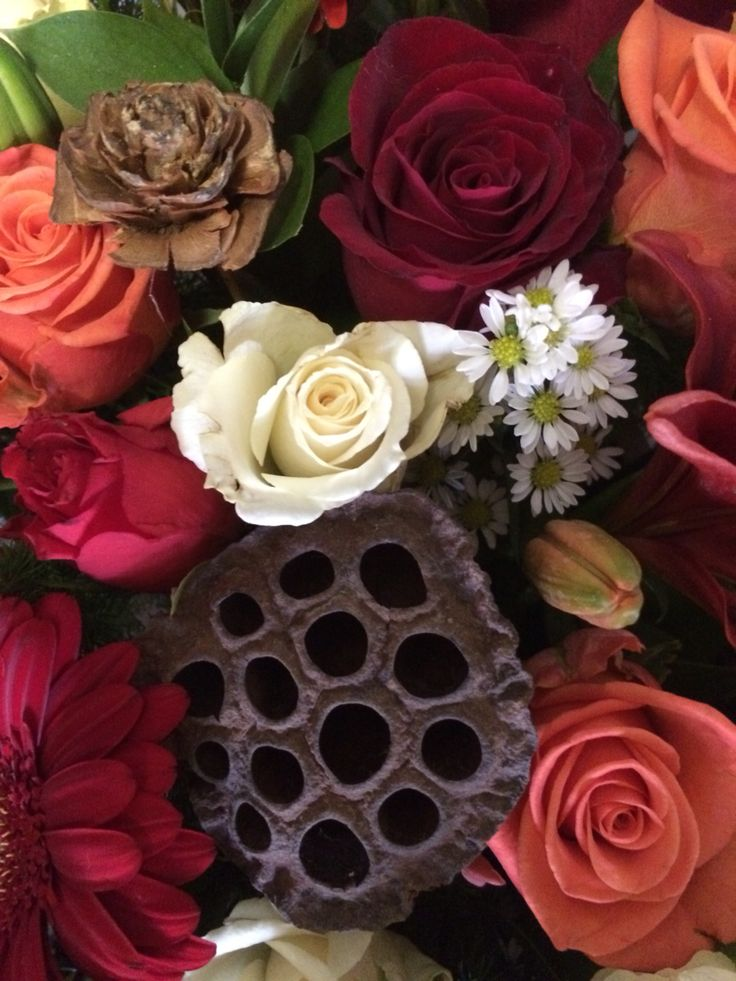 Wooden flowers in arrangements