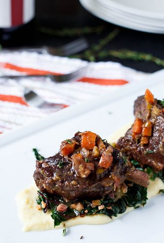 Braised Short Ribs with Swiss Chard & Polenta. via shared appetite