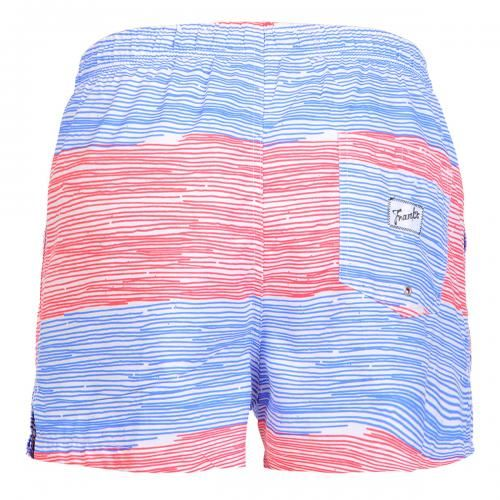 SWIM SHORTS WITH STRIPES Polyester Boardshorts with large stripe print. Elastic waistband with adjustable drawstring. Back pocket with Frank's label detailing. Internal net. COMPOSITION: 100% POLYESTER.