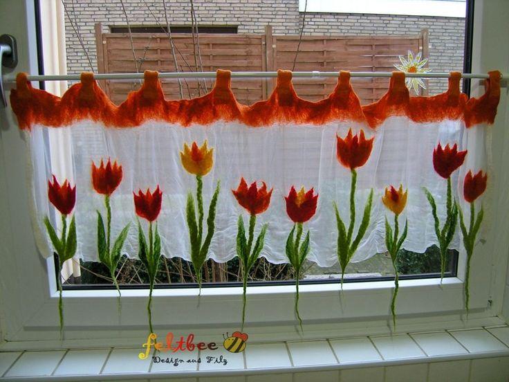 Fenster Gardine Tulpen im Frühling, gefilzt von feltbee - Design aus Filz auf DaWanda.com