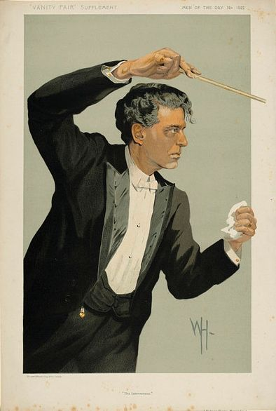 "Pietro Mascagni - Vanity Fair Magazine cover  (April 17, 1912) ""The Intermezzo"" caricature by Wallace Hester"