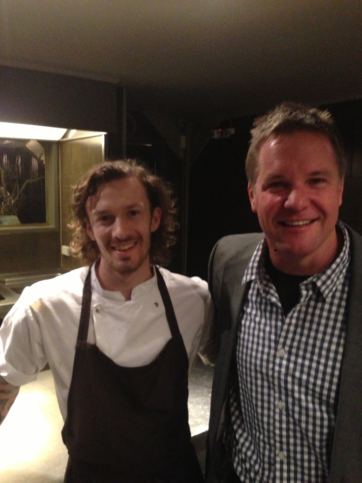 Me with the head chef at Noma Copenhagen having a tour through the kitchen