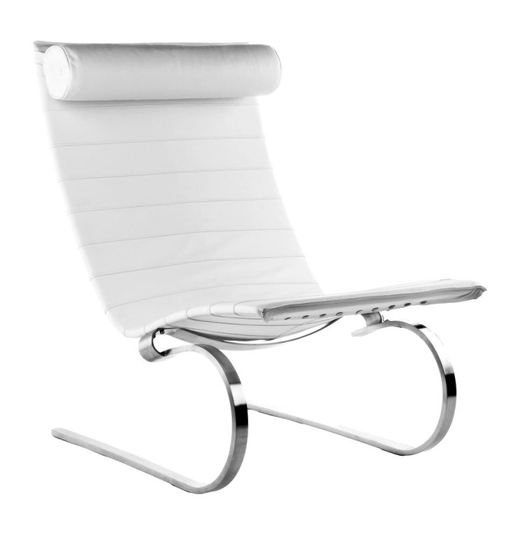 PK20 lounge chair - дизайнерское кресло -качалка. Кресло-шезлонга. Пружинящие металлические ножки. Кожаная обивка.