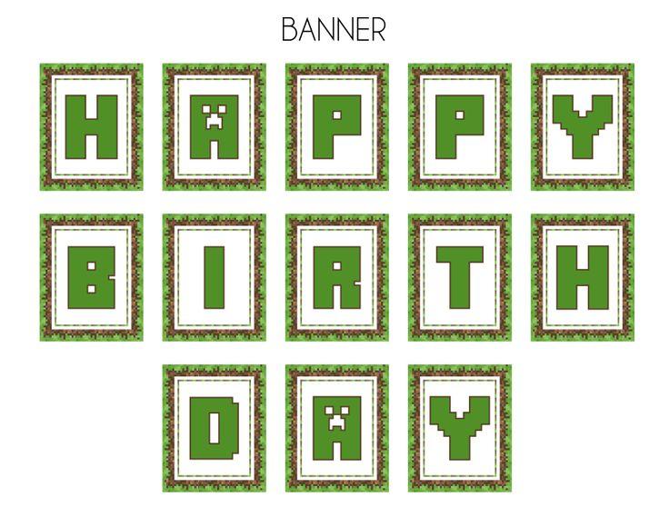 Free Printable Minecraft Birthday Invitations   FREE Minecraft Party Printables from Printabelle
