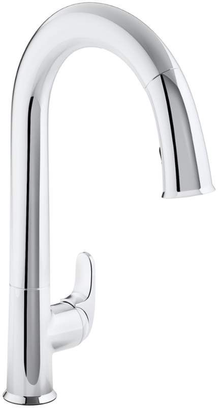 "View the Kohler K-72218 Sensate Touchless Kitchen Faucet with 15-1/2"" Pull-Down Spout, DockNetik Magnetic Docking System and a 3-Function Sprayhead Featuring Sweep Spray at FaucetDirect.com."