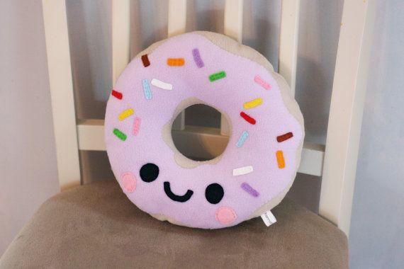 Happy Doughnut Fleece Plush Pillow / Kawaii by hannahdoodle, £12.50