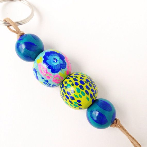 Hand Painted Wood Bead Keychain - Wonderland