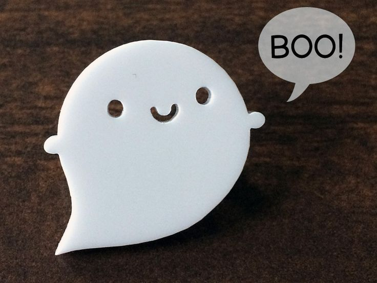Little Ghost Kawaii Acrylic Brooch from Asking For Trouble by DaWanda.com