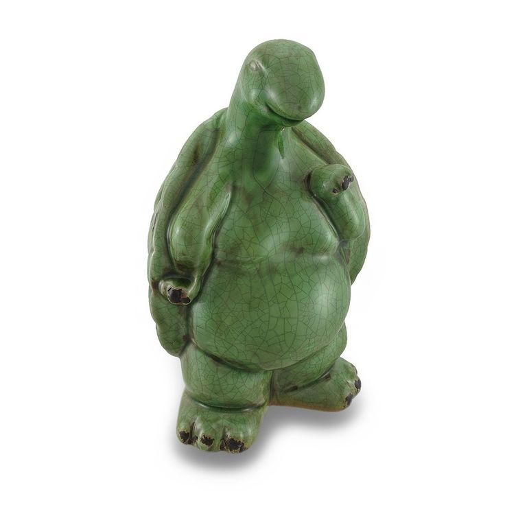 Distressed Finish Ceramic Turtle Indoor / Outdoor Statue (gray), Green