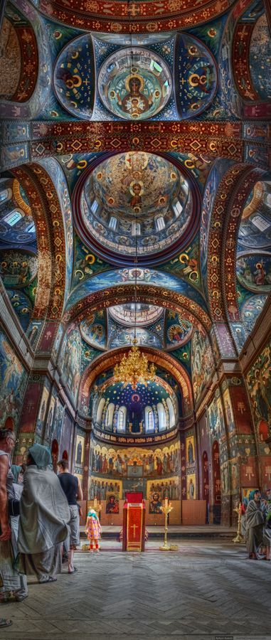 Fresco at a church in a Mt. Athos monastery. Mt Athos is a mountain and peninsula in Macedonia, Greece, and a World Heritage Site.