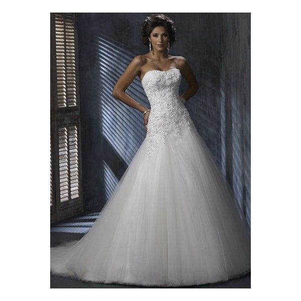 Romantic A-line Strapless Embroidery Beaded Satin Tulle Bridal Dress
