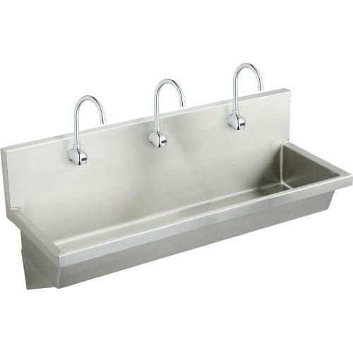 Elkay EWMA7220SACTMC 72 Single Basin Wall Mounted Stainless Steel (Silver) Utility Sink with Commercial Faucets (3) - Includes Strainer