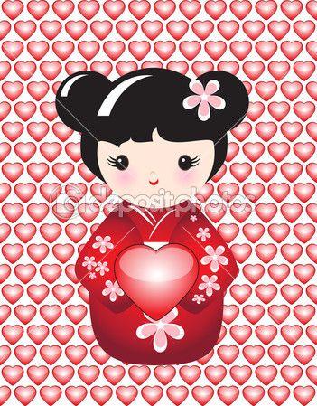 Kokeshi sosteniendo un corazón brillante contra fondo de corazones brillantes. formato del vector Eps10