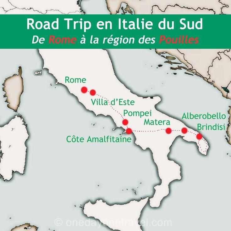 trajet road trip en Italie du sud carte