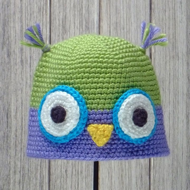 "OWL HAT for BABIES & CHILDREN ♦ Crochet pattern in ""Amigurumi Animal Hats"" by Linda Wright. http://amazon.com/dp/098009237X/"