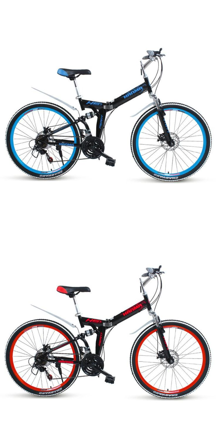 [Visit to Buy] Freeshipping Folding mountain bike 24 inch 26 inch double disc brakes double shock 21 speed students adult men and women cycling #Advertisement