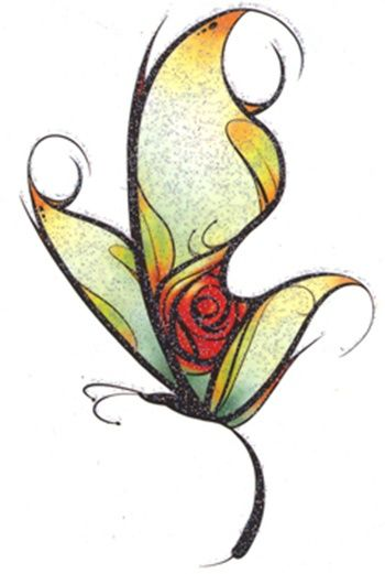 I like so many things about this... It's a butterfly with a red rose in it's wing... It's a Beauty and the Beast butterfly. It's awesome.