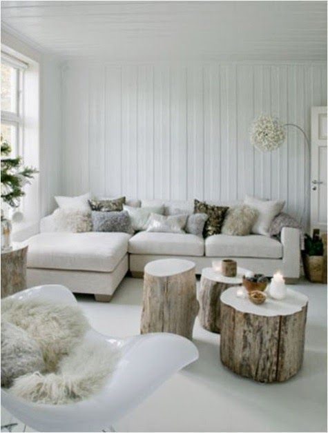 A tree stump as a side table | Glamour Coastal Living