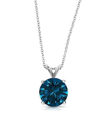 Another great find on #zulily! London Blue Topaz & 14k White Gold Pendant Necklace #zulilyfinds