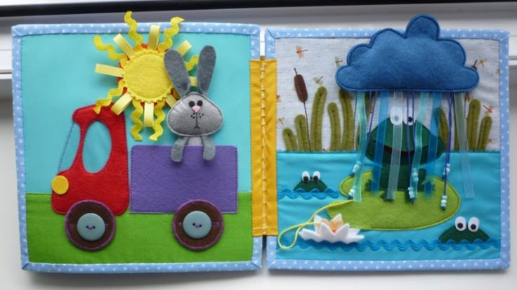 Super awesome quiet book! Use of beads, ribbons, textures, and hidden objects.