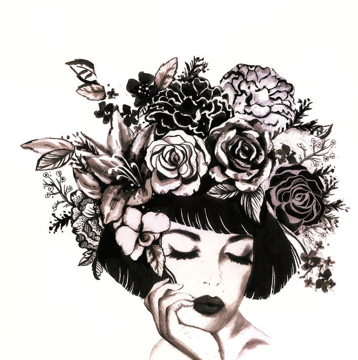 alice wong- lady with flowers in hair, ink