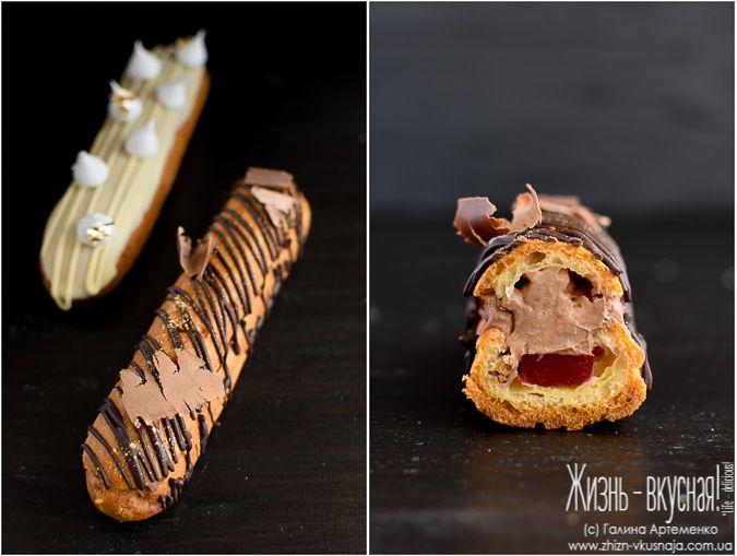 эклеры рецепт приготовления, как приготовить эклеры, шоколадные эклеры рецепт с фото, эклеры с кремом из сливок рецепт
