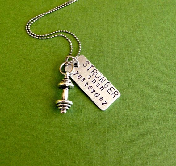 Crossfit Workout Necklace STRONGER than yesterday Charm with mini barbell
