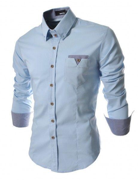 Doublju - Camisa Casual com Bolso Frontal (CD063) Compre roupas de qualidade, com design inovador e preço justo!