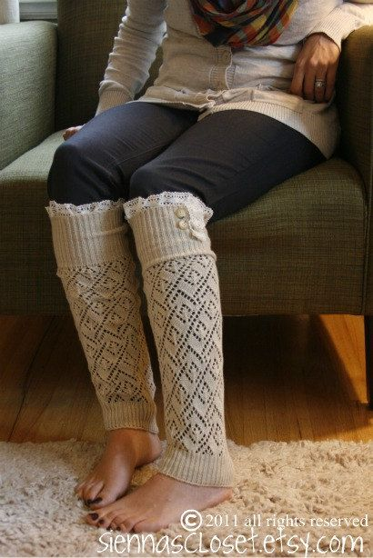 The Lacey Lou-Natural: Open-work Legwarmers with Ivory knit Lace trim & buttons