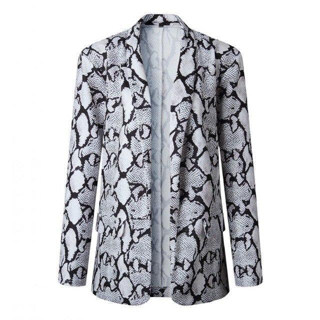 Spring 2019 Leopard Blazer Jacket Women Print Snakeskin Leopard Notched No Lining Long Sleeve Coat Chaqueta Mujer C8D591 Snakesk 3