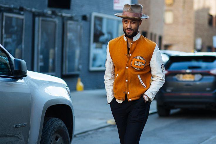 Men's bomber jacket plus hat.   NYFW: Men's AW16 Day 2 — Men's Fashion Post