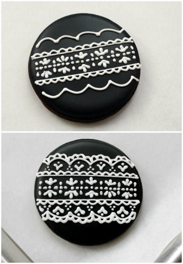 Apparently the black and white lace piping on these cookies is much easier than it looks. Doesn't it look fabulous, though?