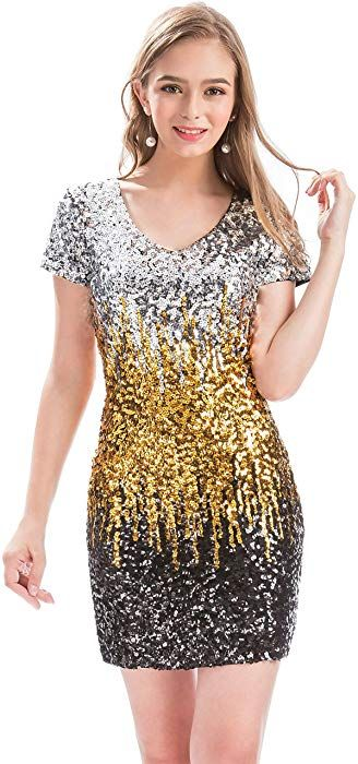 bac67aac Amazon.com: MANER Women's Sequin Glitter Short Sleeve Dress Sexy V Neck  Mini Party Club Bodycon Gowns (XS, Sky Blue/Royal Blue/Navy Blue): Clothing
