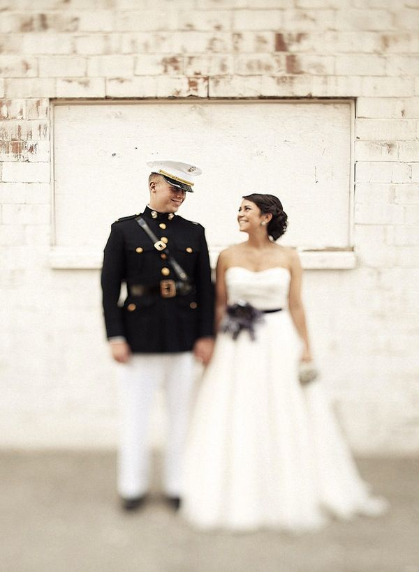 Military groom military weddings strapless wedding dress for Free wedding dresses for military brides