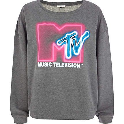 Grey fluorescent mtv print sweat top sweaters hoodies for T shirts that don t show sweat