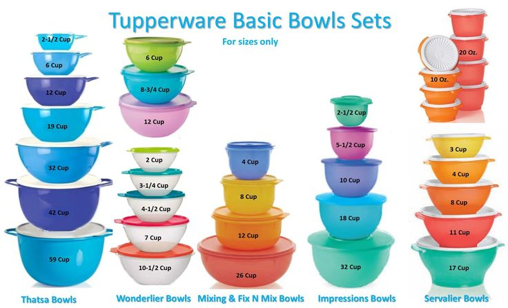 Tupperware bowls n sizes