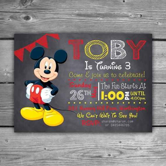 Personnalisé de Mickey Mouse Invitation fête anniversaire imprimable pour enfants bricolage personnalisé Invitation tableau Mickey Mouse