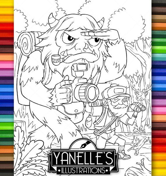 Adult Coloring Page Bigfoot Sasquatch Magical Creature Fantasy