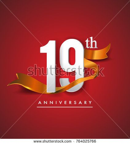 19th anniversary logotype with golden ribbon isolated on red elegance background, vector design for birthday celebration, greeting card and invitation card.