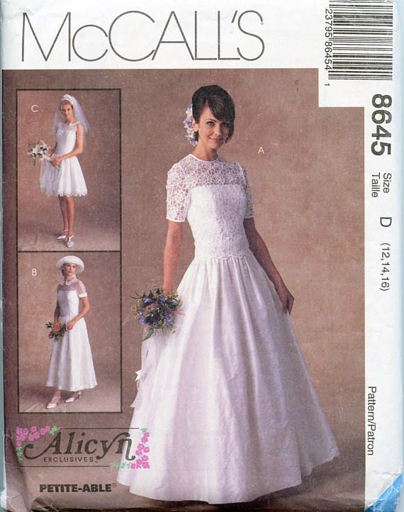 McCalls 8635 Alicyn Wedding Bridal Gown Dress Bride Bridesmaid pattern UNCUT FF
