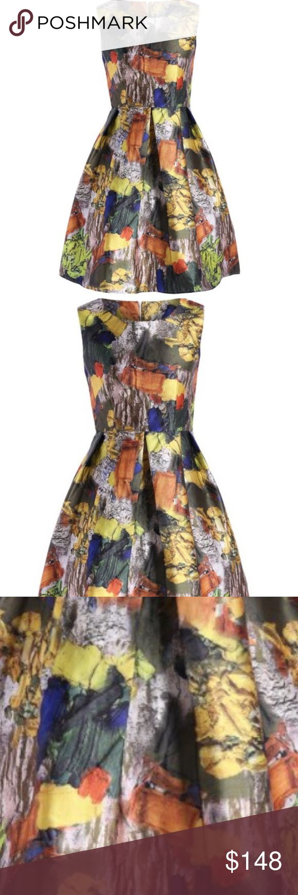 🔥 Weekend SALE! 🔥 Abstract A-Lined Dress Beautiful A-Lined Sleeveless Multi-colored Dress. Dresses Midi