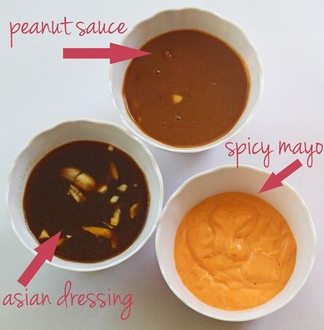 Peanut sauce, Spicy Mayo, & Asian Dressing (for spring roll dipping)