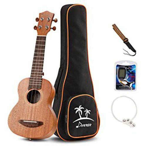 Donner Soprano Ukulele Mahogany 21 inch with Ukulele Set Strap Nylon String  Tuner