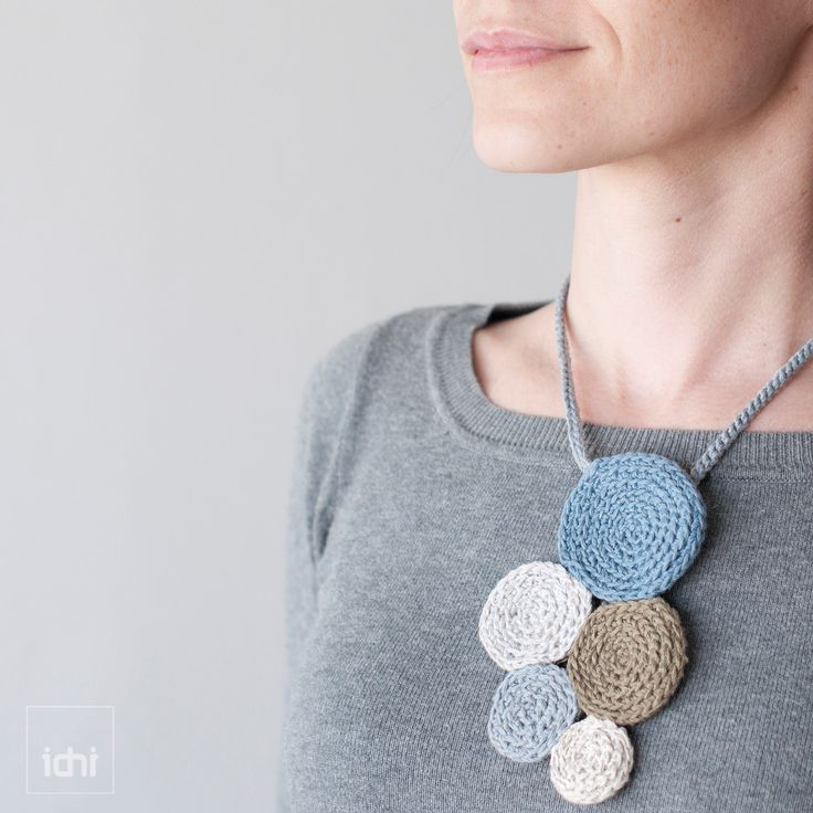Necklace crochet circles. Blue & Beige .. $50.00, via Etsy.