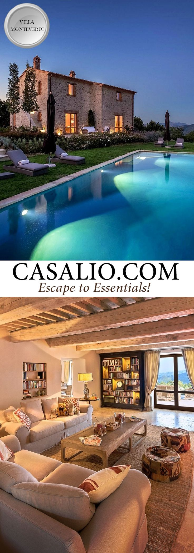 Ferienvilla | Villa Rental Ferienhaus   | www.casalio.com || Villa Monteverdi || Italy - Umbria || 3 bedrooms, private pool, air-conditioning. This fascinating 3 bedrooms villa set on the top of the Mount Elceto is a great example of a glorious restoration in the perfect site. Finest interior design and a long infinity pool that seems to float on the huge valley make the Villa a very special place for a unforgettable holiday.  #Villas #Umbria #Perugia #luxuryTravel #travel.
