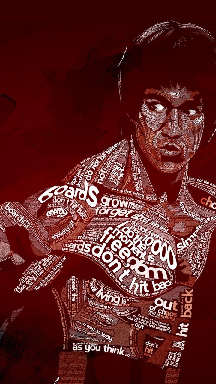 Free Bruce Lee Typographic Iphone 6 Wallpaper Bruce Lee Bruce Lee Art Bruce Lee Photos
