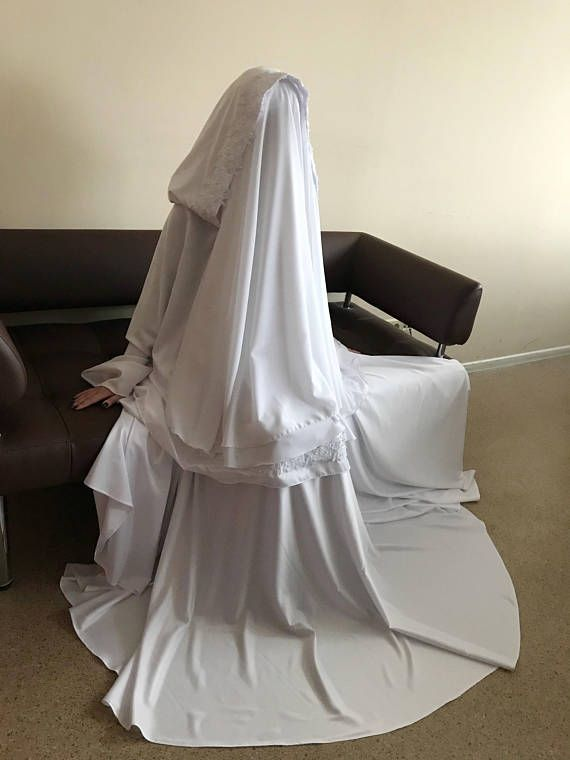 Elegant #muslim  #muslimwedding  suit, bridal Silk #jilbab , White khimar, #engagement  #islamic  dress, #nikah  outfit, lace #burqa #hijab